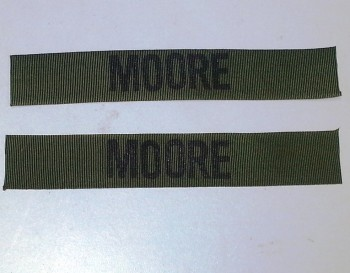 Name Tape Set (2), Stamped, OD Green NYLON