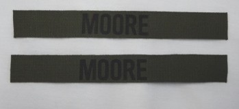 Name Tape Set (2), Stamped, OD Green COTTON