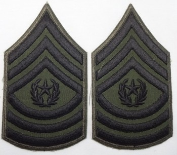 Command Sergeant Major, Subd. Sleeve Set (Black on Green)