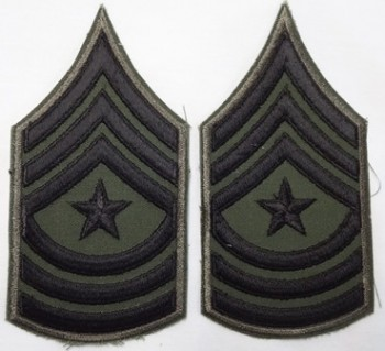 Sergeant Major, Subd. Sleeve Set (Black on Green)