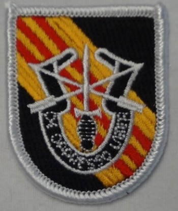 5th Special Forces Beret Flash, Merrowed with Crest.